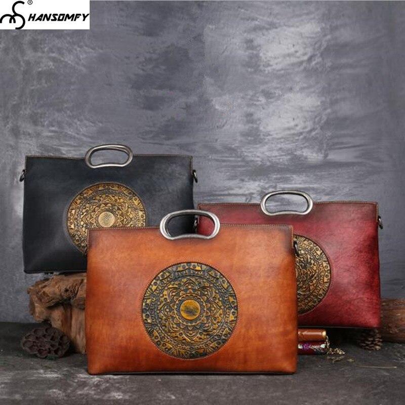 Из натуральной кожи изделие ручной работы в стиле ретро Для женщин сумки большой емкости женская сумка с тиснением ручная роспись Тотем сум