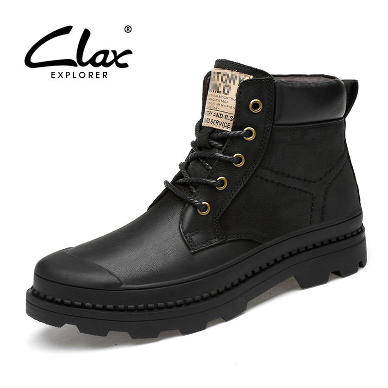 CLAX Mens Leather Boot High Top Autumn Work Boot Safety Shoe Male Motorcycle Winter Boot Plush Fur Warm Snow Shoe plus size clax mens boot spring autumn ankle boot genuine leather male casual leather shoe winter boots men snow shoes fur warm plus size