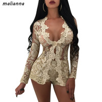 malianna 2018 Women Sexy Deep V-Neck Long Sleeve Floral Lace Short Two Piece Set Gold Mesh Embroidery Night Club Suits Clothing