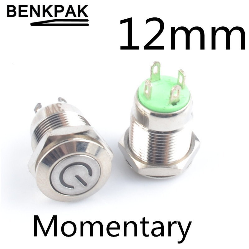 Keenso 12mm Waterproof Metal Momentary Type Self-resetting Push Button Switch White LED Light 12V LED Power Switch Push Button Switch