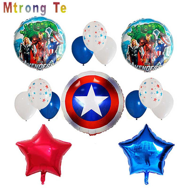 Mtrong Te 14pcs/lot Avengers Foil Balloons Captain America Super Hero Boys Kids Birthday Party Balloon Toys Supplier
