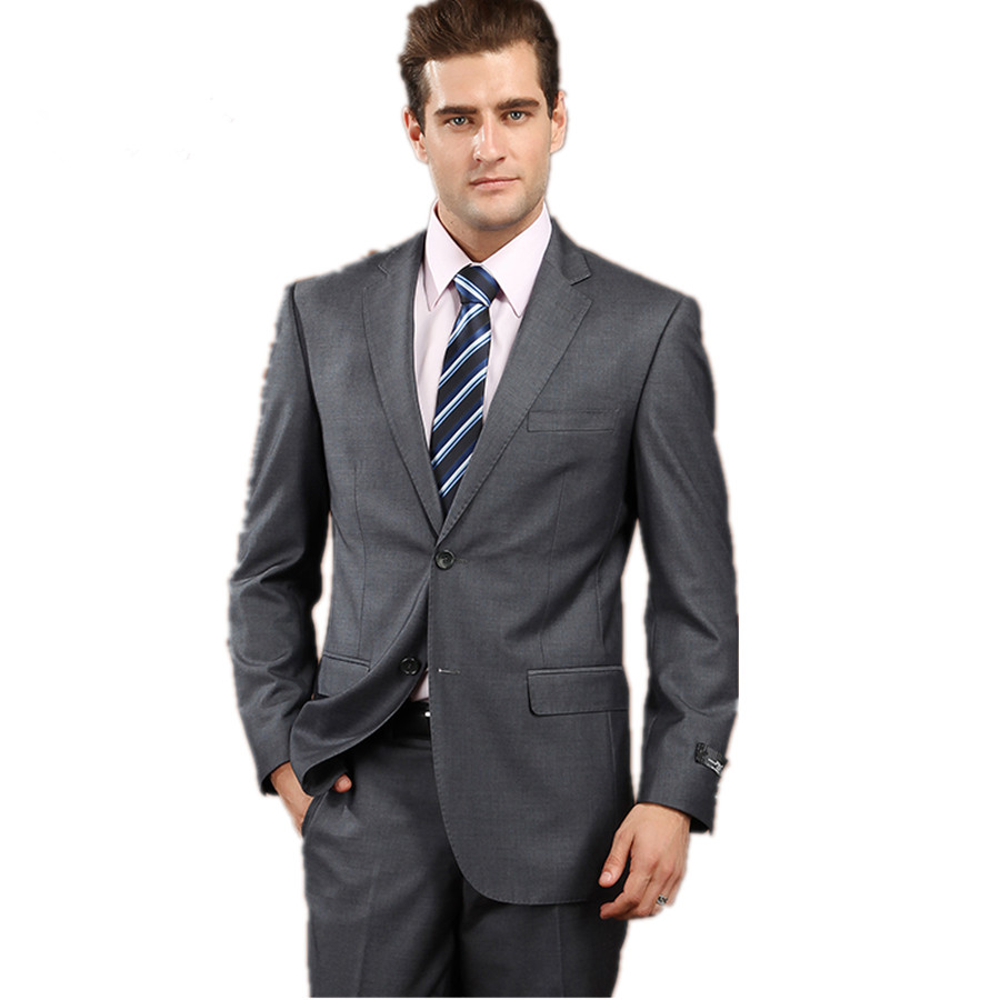 The 2015 men's dress suit men's business casual suit and dark grey ...