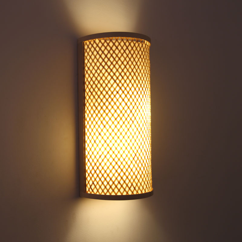 Japanese Wall Sconces: Japanese Style Hand Knitted Bamboo Bedside Wall Lamp