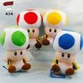 Super Mario Bros Peluches 7 ''18 cm Mushroom Toad Suave Peluche Juguete Del Bebé Mario Muñeca de la felpa con el Lechón Colgante de 4 Colores 1 pieza