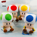 Super Mario Bros Plush Toys 7'' 18cm Mushroom Toad Soft Stuffed Plush Doll with Sucker Baby Toy Mario Pendant 4 Colors 1 Piece