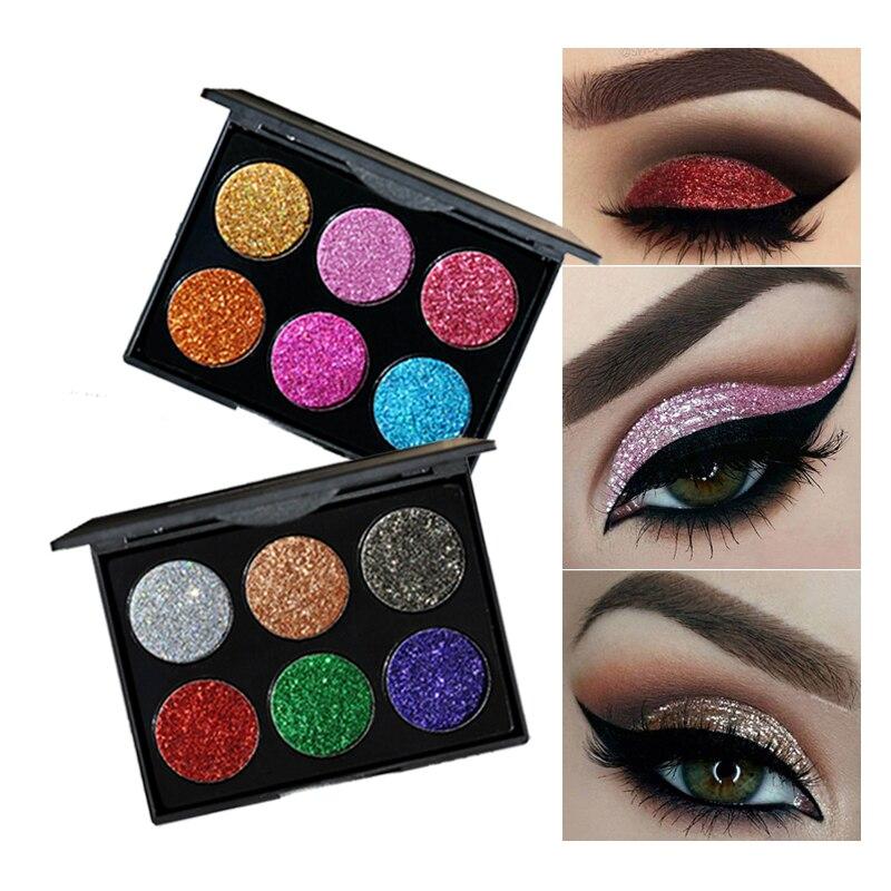 Handaiyan 6 Color Diamond Glitter Eyeshadow Palette Gold Shine Eyeshadow Glitter Shiny Eyeshadow Purple Blue Eye Shadows Beauty & Health Eye Shadow
