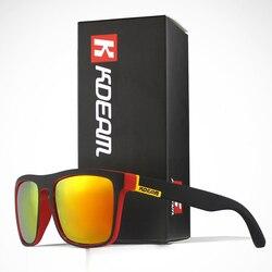 KDEAM квадратных мужские солнцезащитные очки поляризованные эластичная краска ремесла винтажные солнцезащитные очки линзы покрытие движущи...