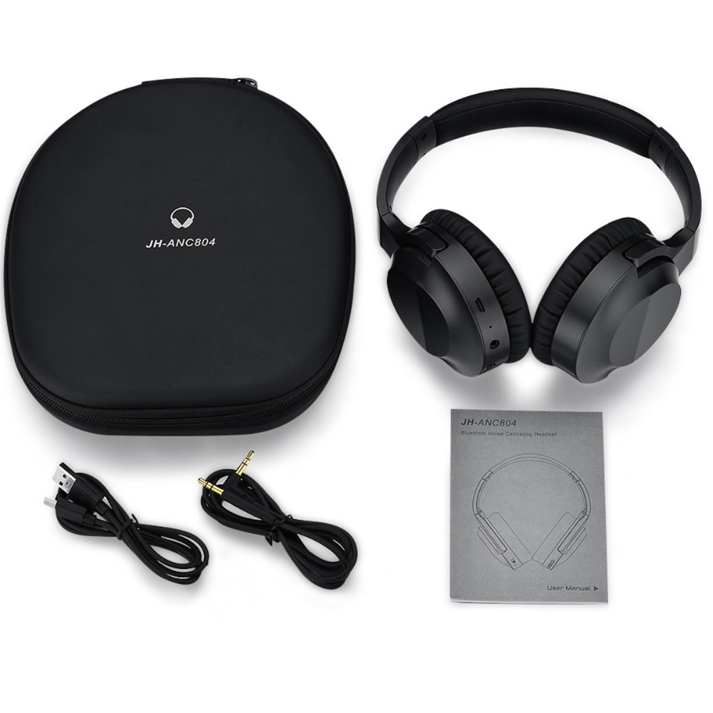 JH-ANC804 ANC Bluetooth Headphones Headset Active Noise Cancelling Over Ear Deep Bass Music Earphone Hands-free with Microphone iskas headphones bluetooth subwoofer ear phones bass original music technology best new free tecnologia eletronica phone good