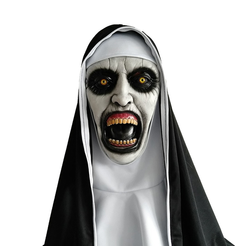 2018 Movie The Nun Horror Mask Cosplay Valak Scary Latex Masks With Headscarf Full Face Helmet Adult Halloween Party Props
