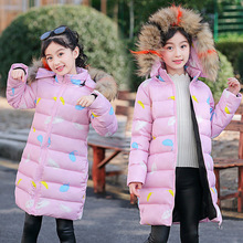 Girls Warm Printed feather Big Fur Collar Hooded Jackets Coats Children Fashion Cotton padded Outerwear Coats Girl Casual Jacket