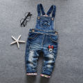 HOT! Free shipping 2017 child cotton bow Overalls children Bib Girls Jeans baby girls  cartoon denim rompers