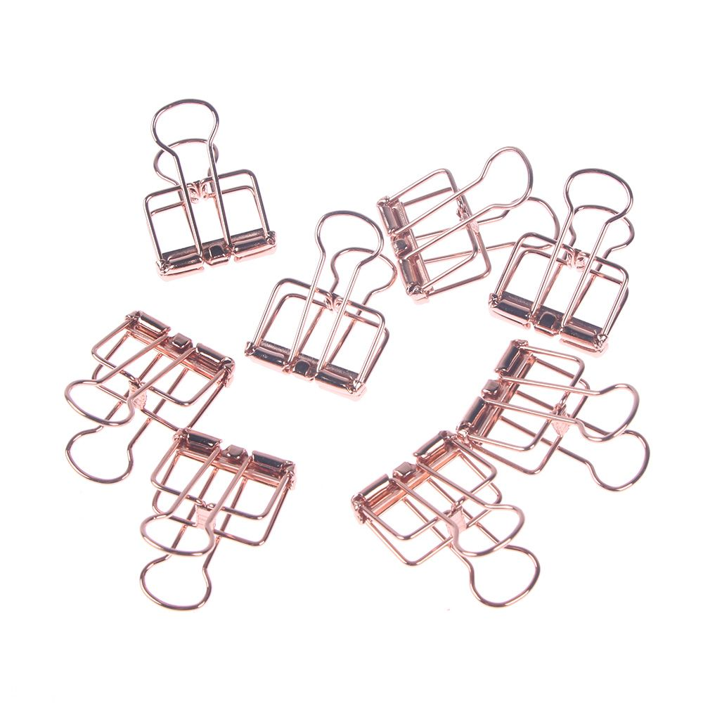 6/8Pcs/Set Hollowed Out Design Binder Clip Stationery Metal Clips Paper Clips Decorative Paper Storage School Supply Clips