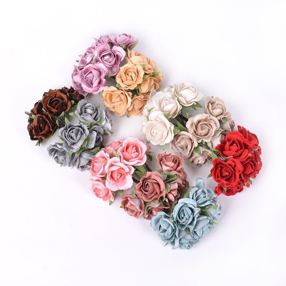 6 шт./лот высокое качество искусственный цветок Шелковый букет роз для свадьбы украшения дома DIY ВЕНОК альбом обувь и одежда