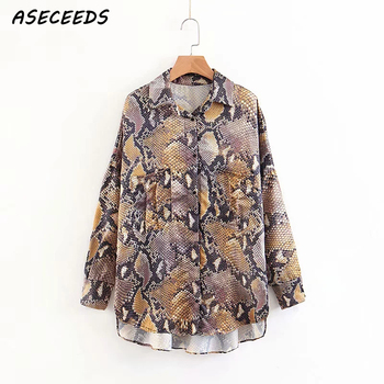 Snake print women's blouse casual button pocket women's clothes shirt