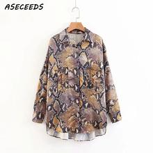 Summer sexy Snake print women s blouse casual button pocket women s clothes shirt 2018 korean
