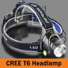 Headlight CREE T6 LED Headlamp Water Resistant Powered Head Lamp Torch LED Flashlights Biking  Fishing Torch for 18650 ZK94
