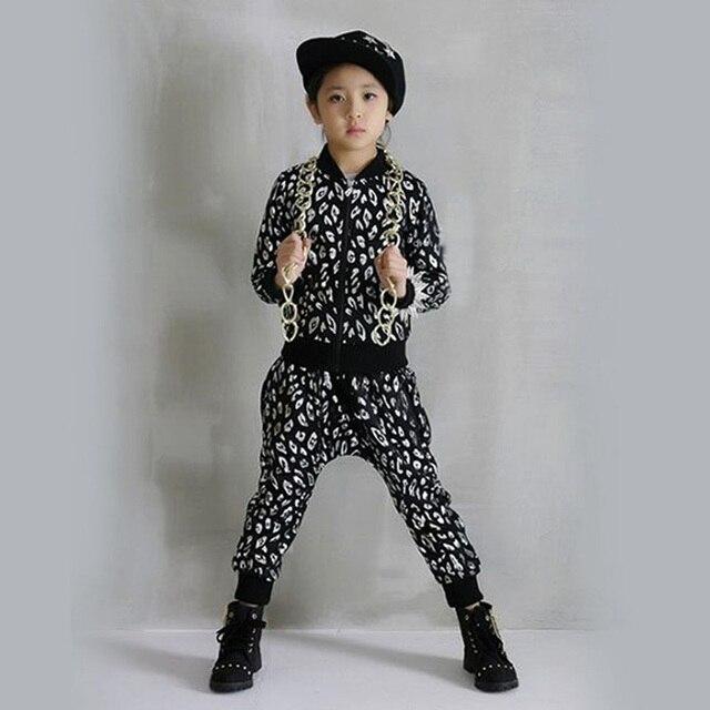 Chicos populares de Hip Hop ropa de Baile de Jazz Traje de la Danza de Las Muchachas de la Ropa Set Top de Manga Larga Pantalones Harén Conjunto