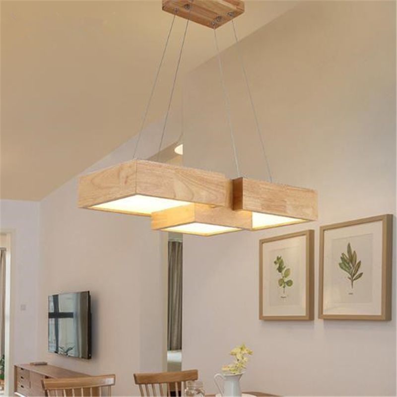 Japanese Modern Simple Creative Wooden LED Pendent Lights Rectangular Wood Lights For Living Room Dining Room Free Shipping