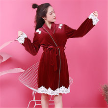 e64979e561cef Autumn Design Luxury Solid Thick Sexy Robe Lace Edge Lingerie Robes Soft  Velour Nightdress Fashion Women s