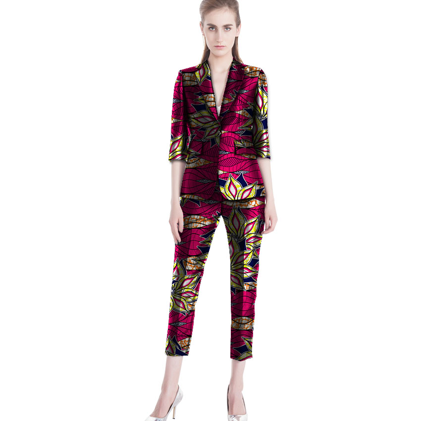 Elegant african print women blazer with pant 2 pieces fashion suits cropped trousers+blazers dashiki outfits africa clothing