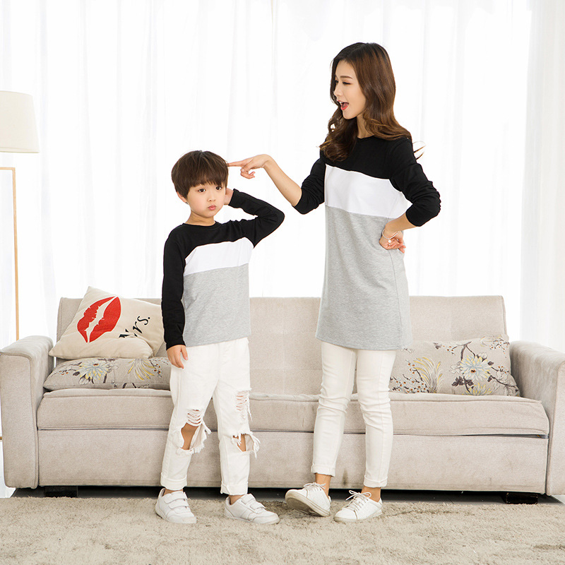Family Look Mother Daughter Dress 2019 Family Clothing Father Son T-Shirt Cotton Patchwork Striped Family Matching Outfits