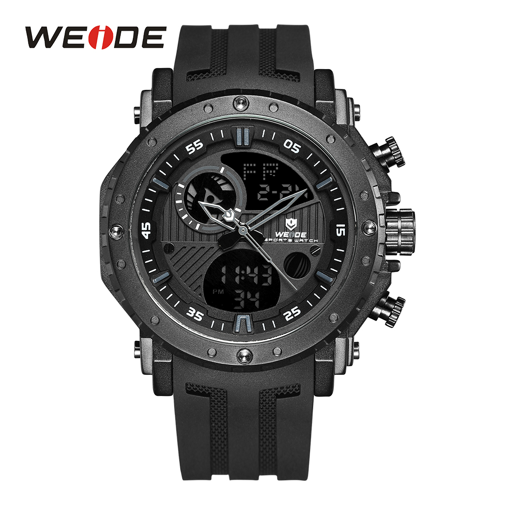 все цены на WEIDE Men Watch Chronograph Alarm Date Analog Multiple Digital PU Strap Black Wristwatch Military Army Male Relogio Masculino