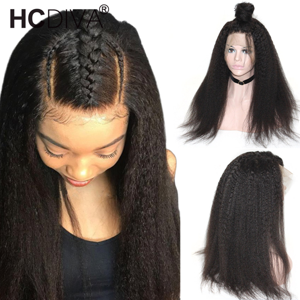 13 4 Lace Frontal Wig Kinky Staright Human Hair Wigs Pre Plucked With Baby Hair 180