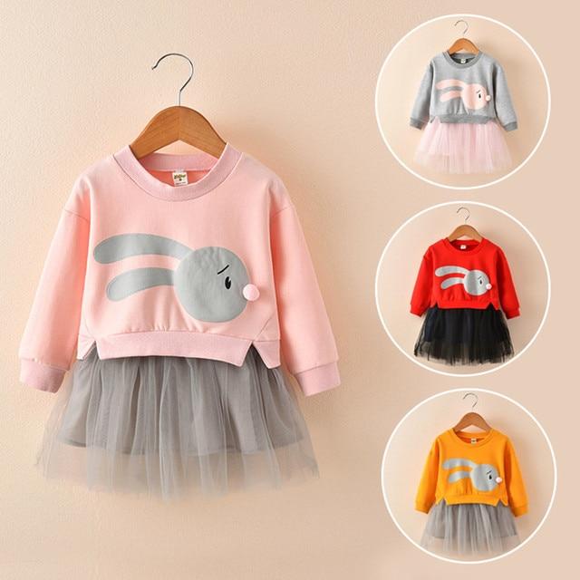 MUQGEW Winter Kids Baby Meisje Kleding Cartoon Bunny Prinses Patchwork Sweatshirt Tule Jurk Kleding roupa infantil