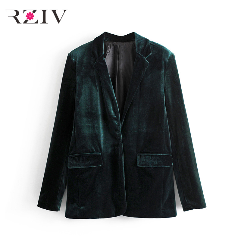 RZIV 2017 Fall female suit casual solid color double breasted velvet suit
