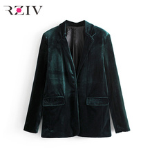 RZIV 2017 Fall female suit casual solid color double-breasted velvet suit