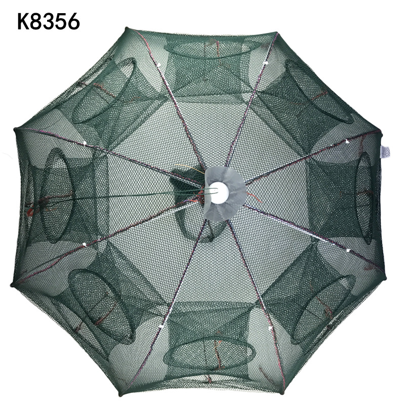 K8356 Strengthened 4-16 Holes Automatic Fishing Net Shrimp Cage Nylon Foldable Crab Fish Trap Cast Net Cast Folding Fishing Nets
