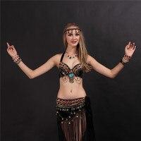 2018 Tribal Style Du Ventre Costume De Danse 2 Photos Soutien-Gorge et jupe 34b/c 36b/c 38b/c noir Couleurs