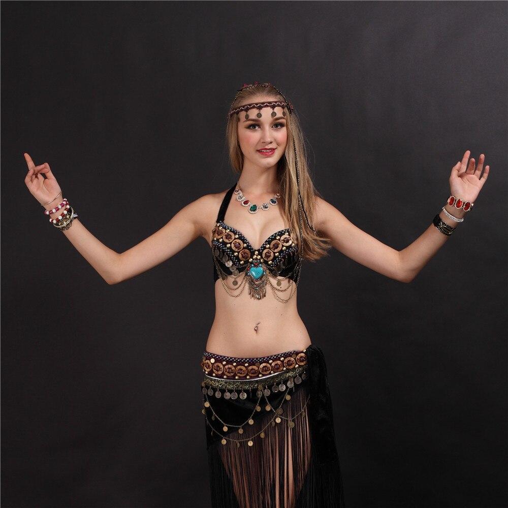 New Belly Dance Costume 2 Pcs set of Tassel Bra/&Belt 34B//C 36B//C 38B//C 2 Colors
