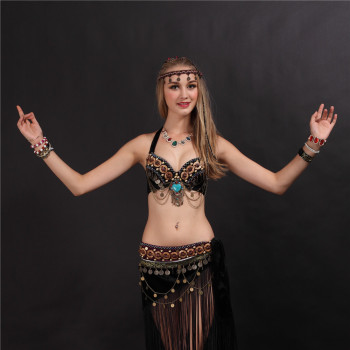 2019  Tribal Style Belly Dance Costume 2 Pics Bra&skirt 34b/c 36b/c 38b/c Black Colors