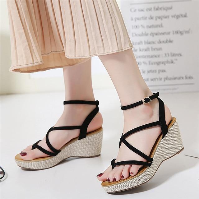2750a584b88d New Sandals Women S Leisure Platform Sandals New Summer Fashion Cutout  Thick Heels Wedges Summer Open Toe Gladiator Shoes