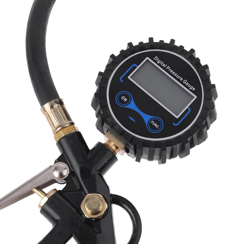 Car Truck Air Tire Inflator with Digital Pressure Gauge 200 PSI Air Chuck & Hose Pistol Type Automobile Pressure Gauge