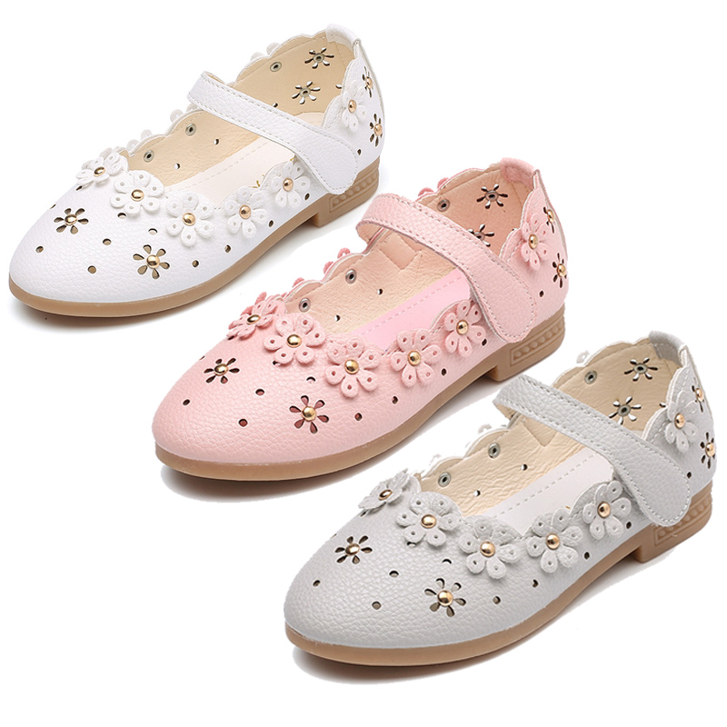 Flower Children Baby Little Girls White Leather Shoes For Girls Wedding Party Dress Shoes New 1 2 3 4 5 6 7 8 9 12 14 Years Old