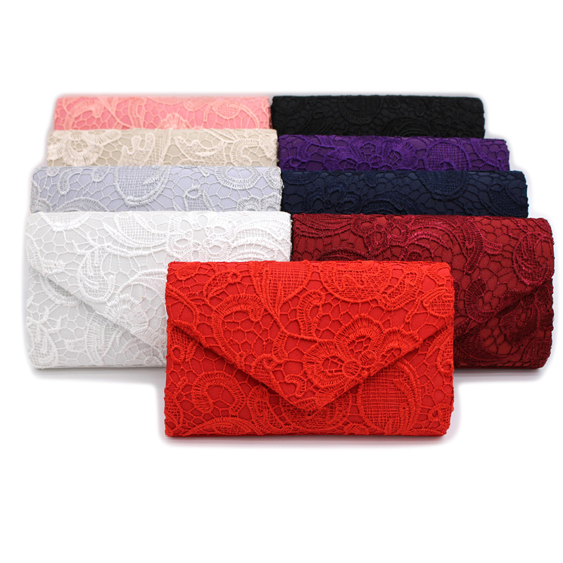 2017 Bridal Wedding Satin Evening Bags Lace Floral Day Pouch Lady Messenger Shoulder Bag Women Handbags Lace Clutch Party Bag