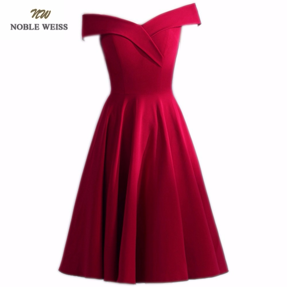 NOBLE WEISS Dark Red Prom Dress High Quality Customized Fashion V-Neck Zipper Back A-Line Cheap Knee-Length Party Gown Dresses