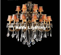 Free Shipping Antique Gold Crystal Pendant Lamp Ceiling Lamp Chandelier Dining Room Lighting 18L D100cm H90cm AC 100% Guaranteed