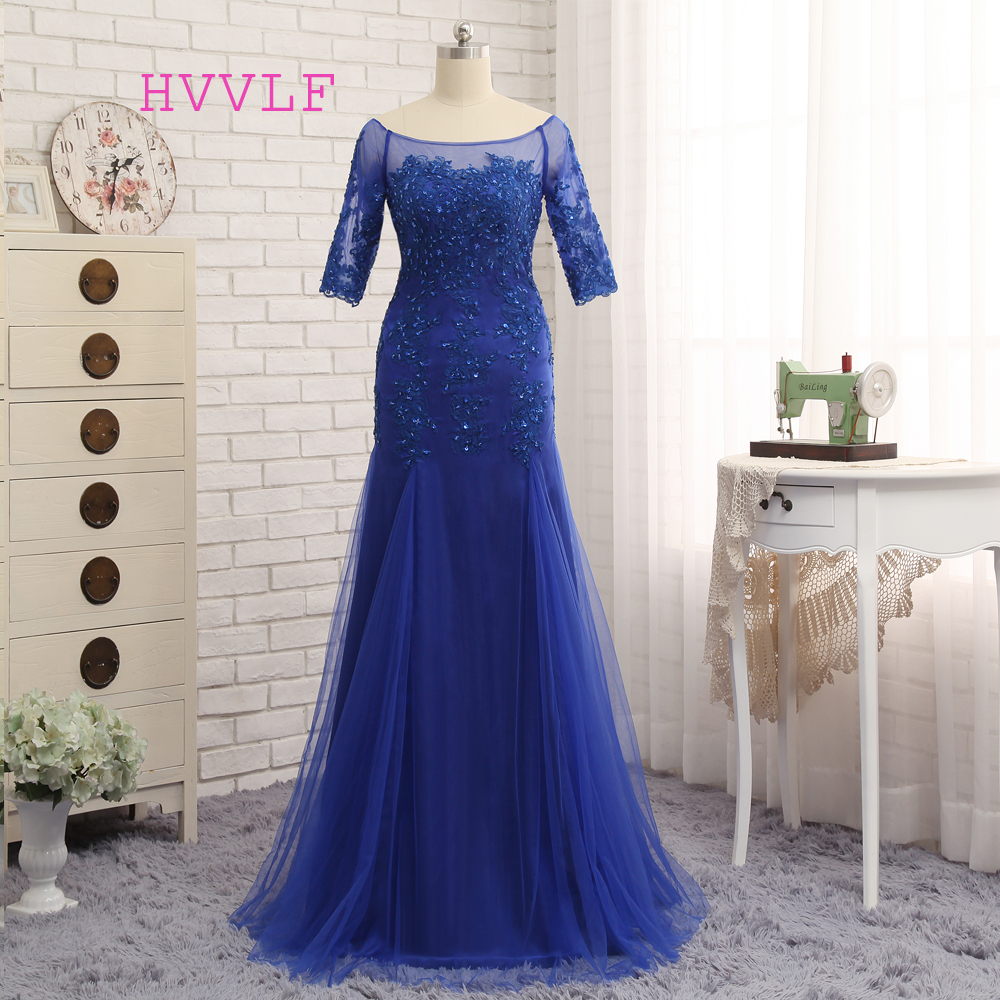 Plus Size Royal Blue 2019 Mother Of The Bride Dresses Mermaid Half Sleeves Tulle Beaded Evening