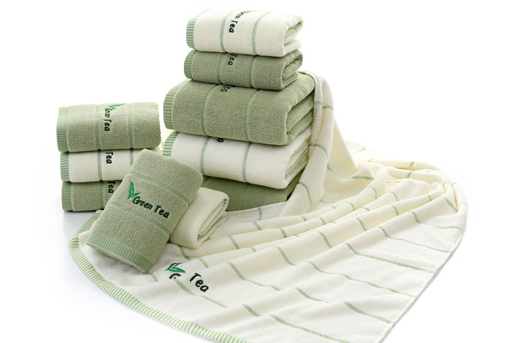 2018 novo belo zeleno brisačo set kopel brisačo umivalno brisačo - Domači tekstil
