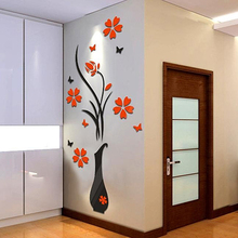 Removable 3D Vase Flower Tree Wall Stickers Home Decal DIY Living Room Decor