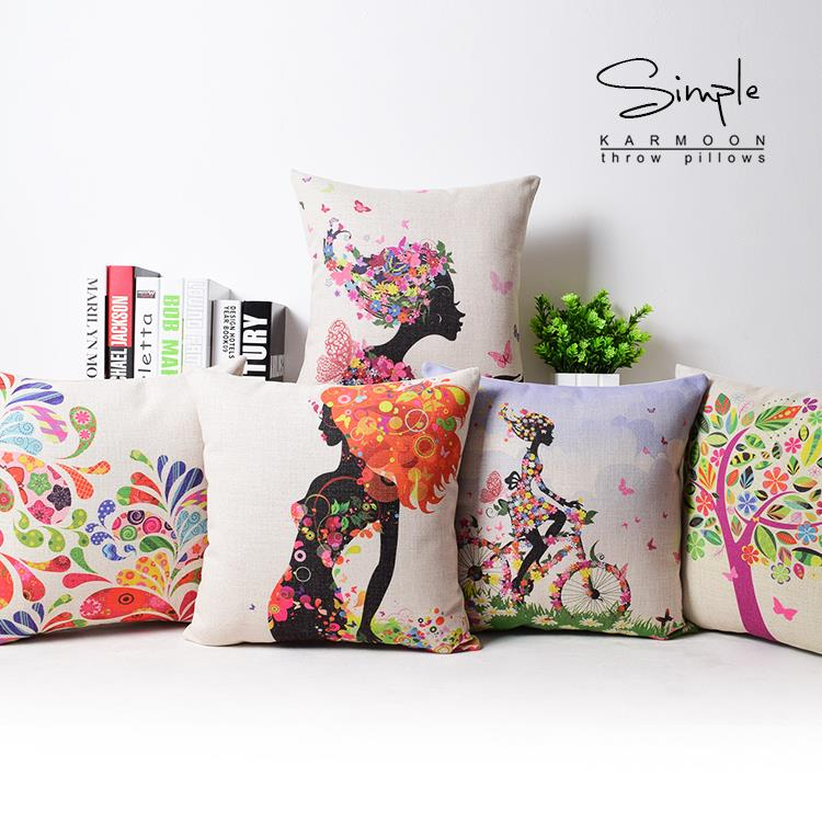 Japan Creative Personality Fresh Girl Pillow , Flowers Pillow Cushion ,Linen Pillowcase,home Decorative Pillows