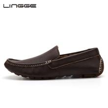 LINGGE/Новые мужские лоферы; обувь из натуральной кожи наивысшего качества; мужские лоферы для вождения; Мягкая Повседневная обувь; Мужская обувь без шнуровки; большие размеры;#556-1
