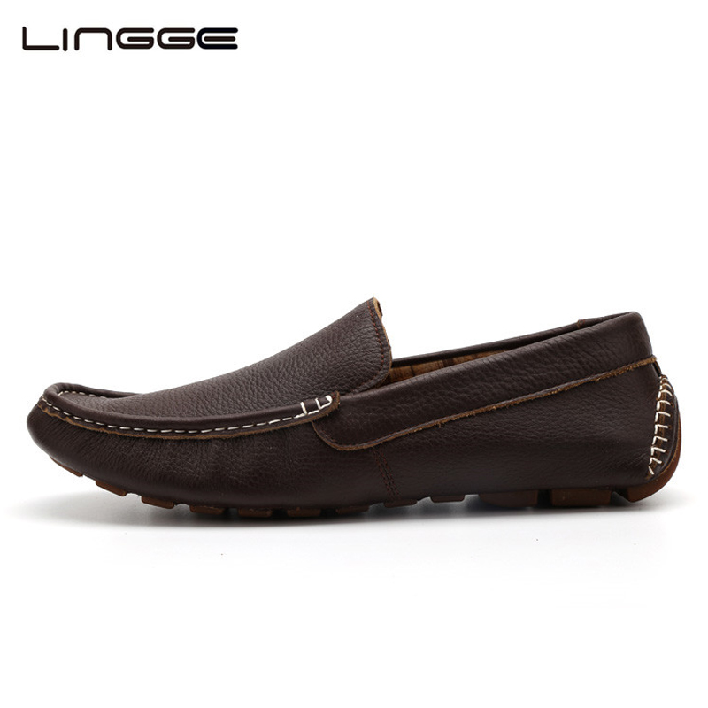 LINGGE Mens Leather Shoes Top Quality Driving Loafers Classic Leather Casual Shoes Luxury Brand Big Size