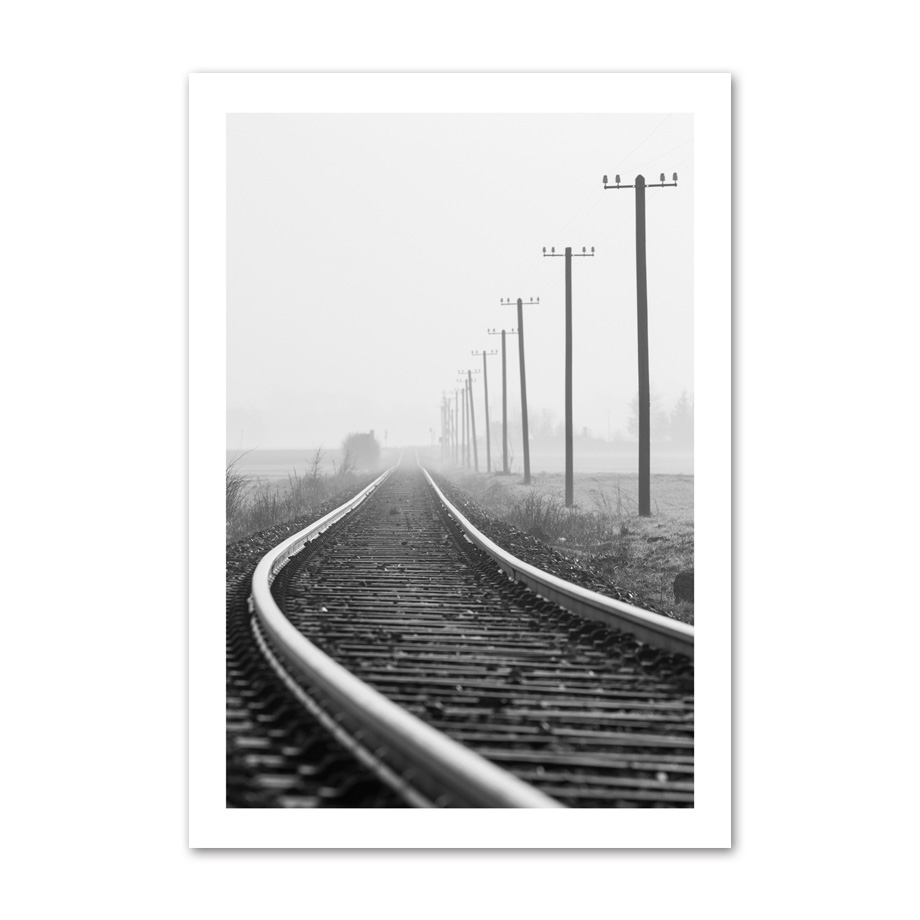 Bridge Railway Tree Landscape Decor Wall Art Canvas Painting Black White Nordic Posters Wall Pictures Decorative Unframed in Painting Calligraphy from Home Garden