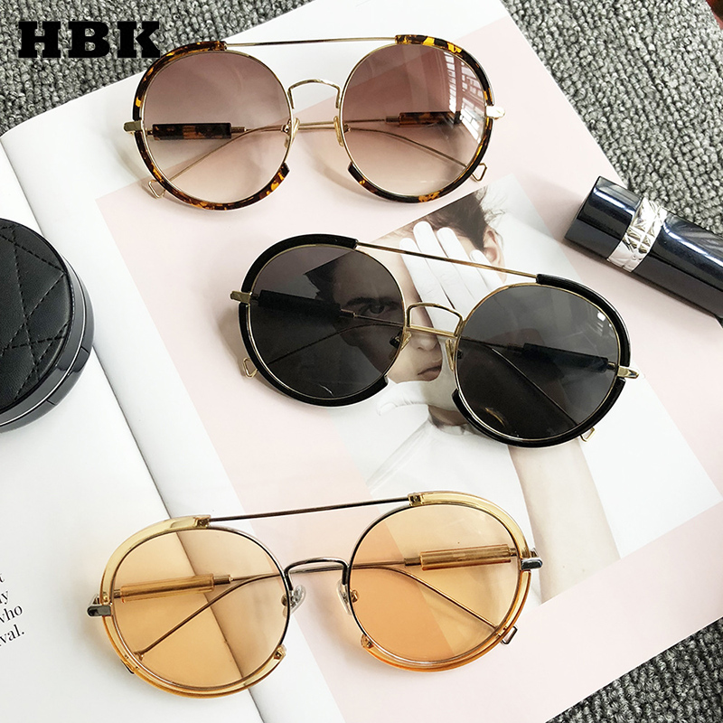 HBK Women Men Round Sunglasses 2019 Newest Round Metal Frame Brand Designer Mirror Eyewear Retro Female Male Sun Glasses UV400