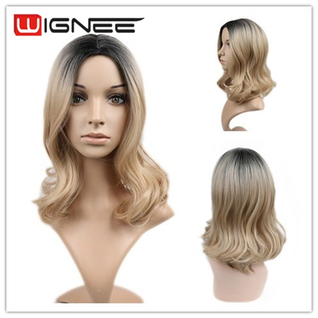 Ombre Blonde Wig Medium Size Natural Loose Curly Hair Cheap Synthetic For Black