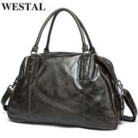 WESTAL Travel Bags Men Genuine Leather Vintage Bag Travel Duffle Totes Shoulder Bags Men's Luggage Cowhide Large Handbag 8912